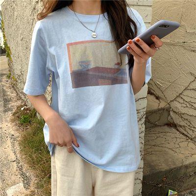 39757/纯棉短袖t恤女2021年新款夏季t桖上衣小众夏装半袖春夏设计感女装