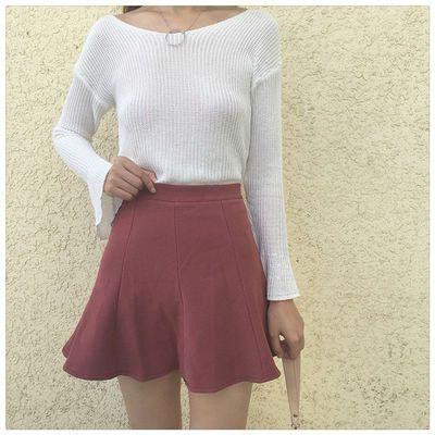高腰短裙鱼尾裙自带安全裤八片式韩版A字裙伞裙半身裙