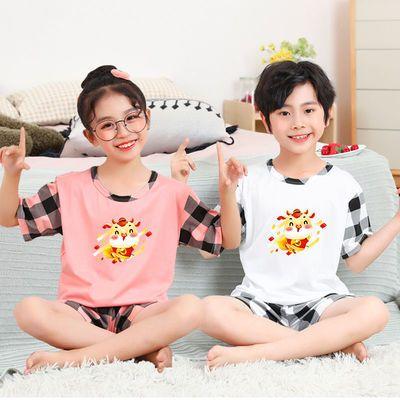儿童睡衣2021年牛年夏季短袖卡通中童大童男孩女孩套装家居服