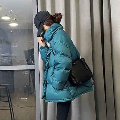 55128/羽绒服女2021新款潮学生韩版中款矮宽松立领小个子白鸭绒短款外套