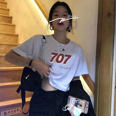 77356/【100%纯棉】短袖T恤女2021夏季新款宽松露肚脐短款上衣