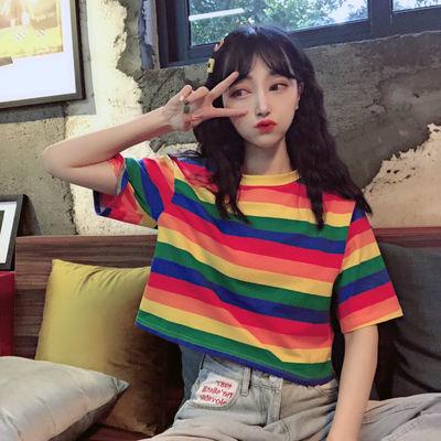 夏季2021新款韩版宽松ins露脐短款T恤女学生慵懒风短袖上衣服