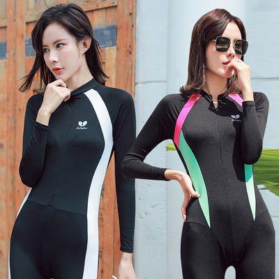 72100/欧美性感气质户外潜水服泳衣女连体长袖防晒冲浪速干浮潜服带胸垫