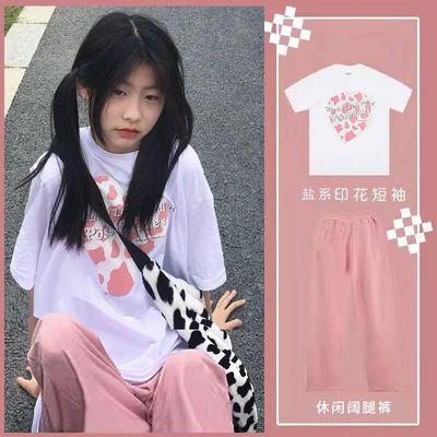 40606/盐系套装女2021夏季新款学生韩版宽松短袖t恤+薄款阔腿裤子两件套