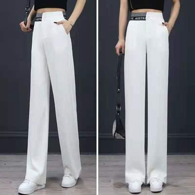 夏新款白色西装阔腿裤女垂感高腰显瘦直筒休闲裤时尚运动裤女