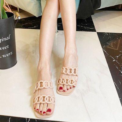 40136/2021夏季新款果冻鞋外穿一字带女凉拖欧美时尚平底仙女风沙滩拖鞋