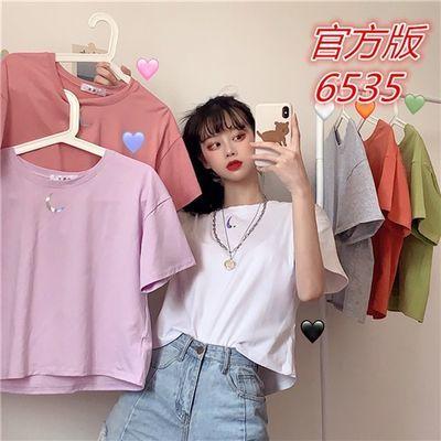 夏季新款韩版网红宽松短袖超火纯色短款T恤女ins潮上衣配高腰裤