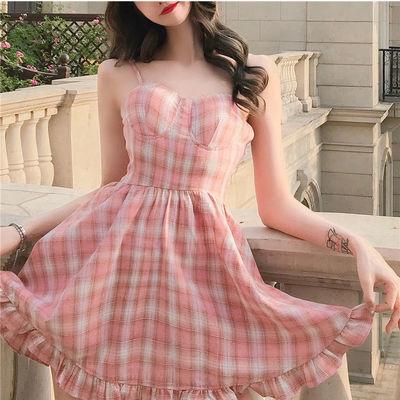 40436/新款大码夏季甜美粉色格子吊带连衣裙女夏小清新学生裙子韩版少女