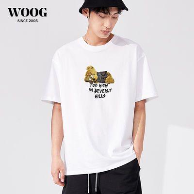 40853/WOOG2005男生小熊T恤ins潮牌短袖宽松印花半袖男士体恤情侣衣服