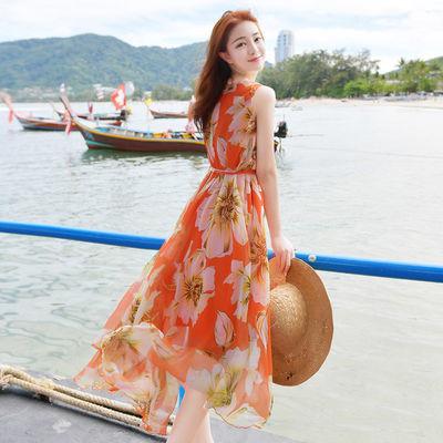 夏季沙滩长裙波西米亚连衣裙女长款仙女超仙甜美沙滩裙海边度假