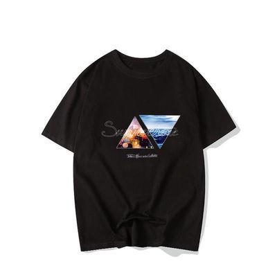 夏季男士短袖2021新款韩版潮流印花上衣服学生百搭打底圆领t恤衫