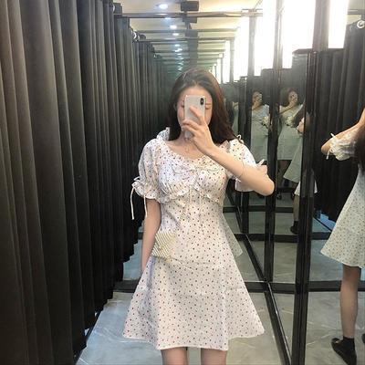40510/2021新款法式气质连衣裙白色田园碎花时尚裙子超仙森系温柔风