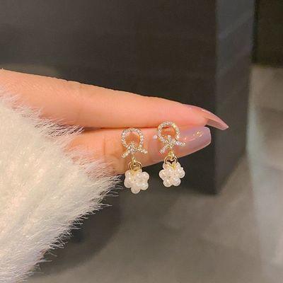 66260/日韩网红珍珠耳环耳夹高级感气质925银针新款时尚简约小巧耳钉女