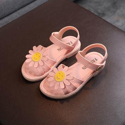 女童凉鞋2021新款夏季女宝宝公主凉鞋防滑软底小孩笑脸沙滩凉鞋