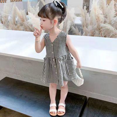 2021夏季新款女童格子背带连衣裙女宝宝休闲洋气前后穿清新连衣裙