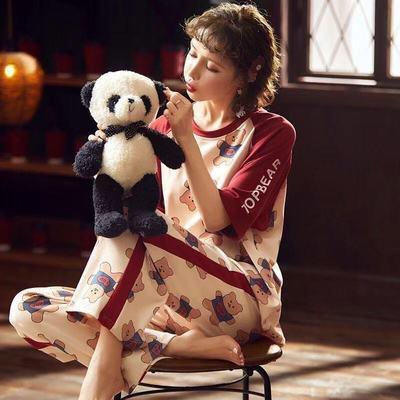 74067/夏季女士短袖长裤可外穿家居服学生韩版可爱甜美卡通条纹棉质睡衣