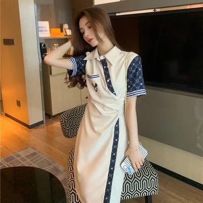65880/小香风连衣裙女2021新款夏装时尚法式设计感改良旗袍收腰显瘦长裙