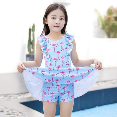 50703/羽克儿童泳衣女孩连体韩版公主裙式夏季小中大童速干泡温泉游泳装