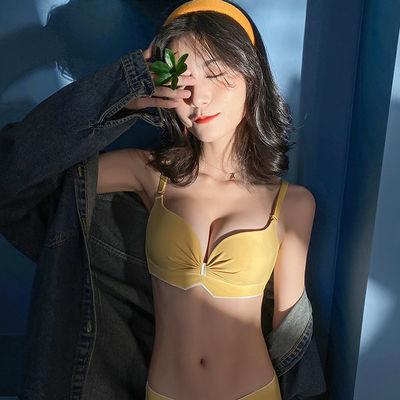 日系内衣少女小胸聚拢无钢圈薄款调整型收副乳防下垂文胸罩套装夏