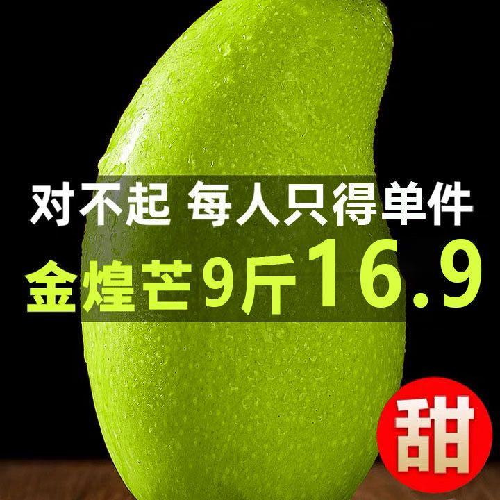 9广西青皮金煌芒10斤带箱包邮 净重9斤小甜心 唔熟了更甜才能吃哦