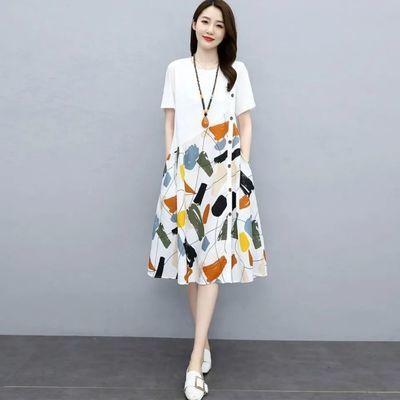 63637/高端连衣裙女2021年新款夏季大码女装韩版宽松显瘦文艺范印花裙子