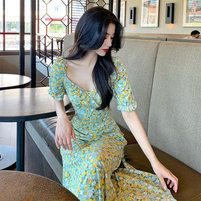 2021新款可盐可甜长裙子收腰显瘦气质女神范法式仙女碎花连衣裙夏