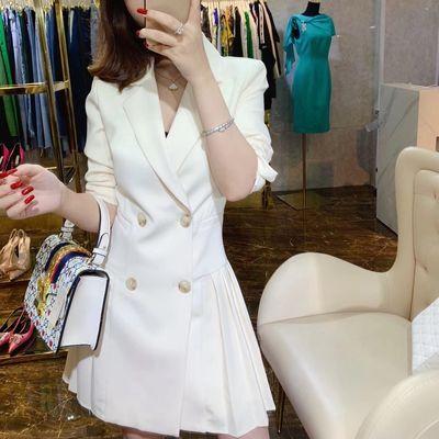 78656/2020春秋新款女西装OL通勤御姐百褶修身白色小西服女士西装裙9143