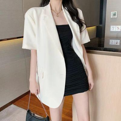 港风休闲套装女夏季新款宽松薄款小西装外套收腰显瘦吊带裙两件套