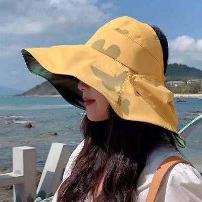 渔夫帽女2021新款夏季网红黑胶防UV紫外线遮脸大檐帽遮阳防晒帽子