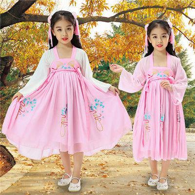 女童汉服齐胸夏薄款公主裙中国风12岁儿童汉服女连衣裙学生仙女裙