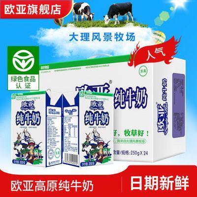 6月新货绿色食品欧亚高原全脂纯牛奶250g*24盒/箱早餐乳制品