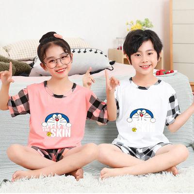 儿童睡衣夏季新款短袖套装卡通中童大童男孩女孩印花小清新家居服