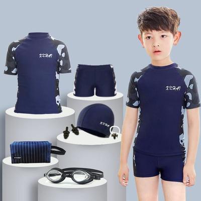 52799/儿童泳衣套装男孩青少年男童泳裤学生中大童分体温泉防晒游泳速干