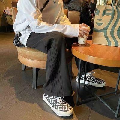 夏季休闲裤男女oversize潮流港风百搭长裤常规不加绒直筒宽松阔腿