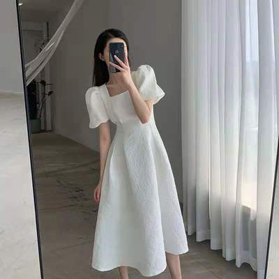77016/白色裙子连衣裙短袖黑色气质名媛显瘦长款新款ins风夏季女中长裙