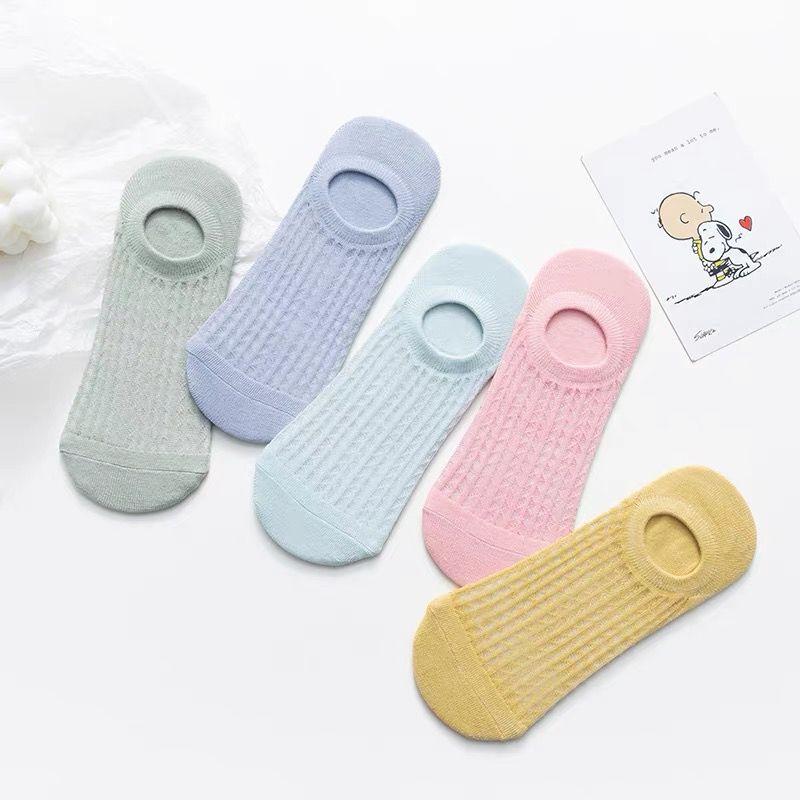 【五双包邮】袜子女夏季薄款短袜可爱日系浅口船袜全棉网眼空调袜