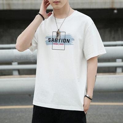 2021新款男士t恤衫短袖夏季纯棉白色半袖潮流宽松衬衫新品推荐