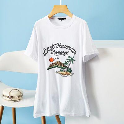 Puella|拉夏贝尔旗下2021白色t恤女夏季潮流短袖宽松纯棉印花图案