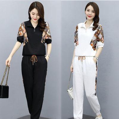 运动休闲时尚套装女2021年夏季新款女装气质棉麻范职业两件套裤装