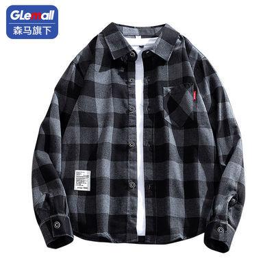 60997/森马旗下Glemall衬衫男港风秋冬季长袖衬衣宽松格子外套男打底衫