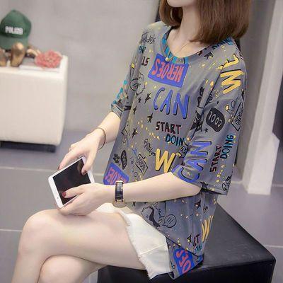 2021新款短袖女夏装微胖加肥大码韩版显瘦减龄潮扎染国潮T恤上衣