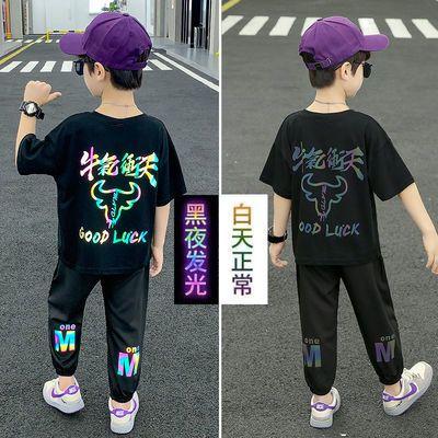 儿童套装夏季男童2021新款帅气12岁8岁男孩夏天衣服速干运动套装