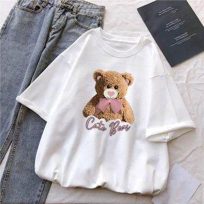 夏季2021新款半袖t恤女白色印花宽松大码短袖打底衫女生上衣