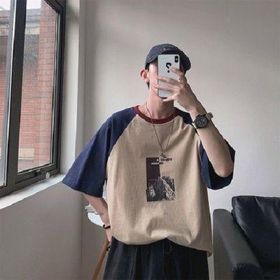 新款T恤夏季男拼接潮流短袖T恤学生韩国青春百搭上衣时尚五分袖潮