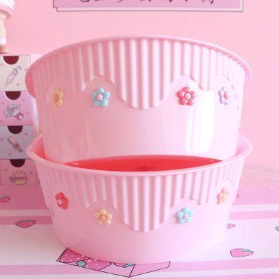 79089/少女心泫雅风小花朵可爱学生寝室塑料洗脸盆儿童宝宝婴儿盆洗脚桶