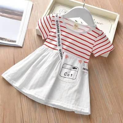 女孩裙子女童夏装短袖连衣裙2021新款条纹裙棉