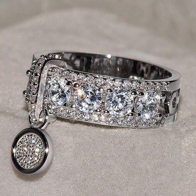 90529/L456爆款饰品批发欧美时尚创意锆石戒指女镀银 真金圆盘戒指