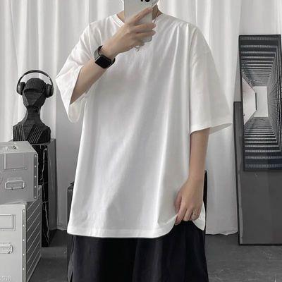 短袖t恤男夏季新款ins潮流港风宽松休闲纯色百搭打底衫中袖体恤衫