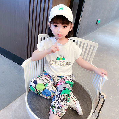 76014/女童夏装新款套装2021洋气儿童衣服女孩宝宝中小童装短袖两件套潮