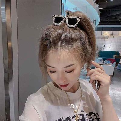 93050/韩国爆款眼镜造型头绳发夹网红个性镶钻边夹刘海夹扎马尾发绳发饰